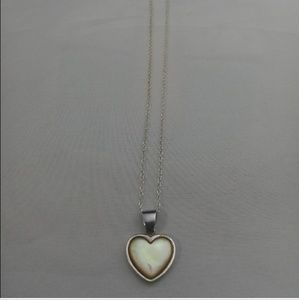 Vintage Sterling Mother of Pearl Heart Pendant